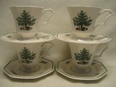 Nikko Christmastime (4) Tea Cups and Saucers  Made in Japan Excellent