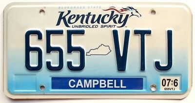 "Kentucky ""Unbridled Spirit"" License Plate, 655 VTJ, Campbell County"