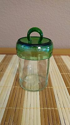 Handmade and Handcut Glass Jar with Green Lid