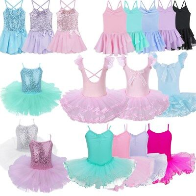 Kids Girls Ballerina Gymnastics Ballet Leotard Dress Dancewear Dancing Costume