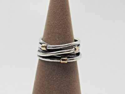 New Pandora w/Box Woven Rope 2 Tone Ring 190383  SIZE 50 & 52 Available