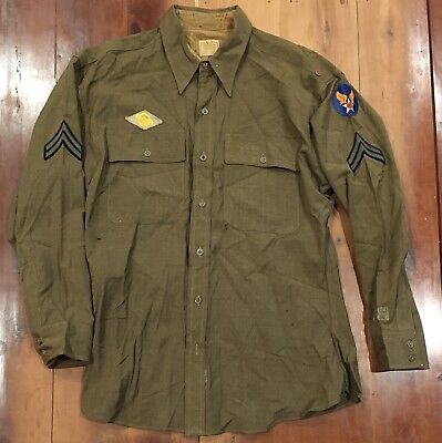 Wwii Us Officers Wool Combat Shirt Ww2 Uniform Army Air Corps Bullion Patches Nr