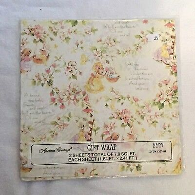 Vtg American Greetings Wrapping Paper Gift Wrap Cats Bunny Mice Baby Shower NOS