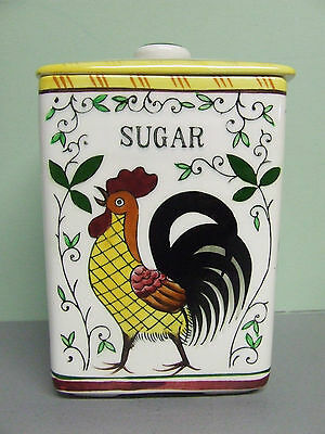 Vintage Ucagco (PY) Rooster & Roses Sugar Canister (Japan)