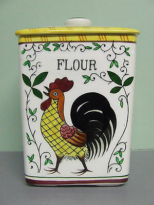 Vintage Ucagco (PY) Rooster & Roses Flour Canister (Japan)