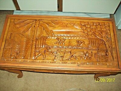 Vintage Asian Small Carved Wood Coffee/Side Table -- Estate Find
