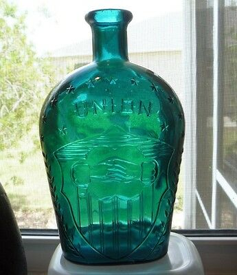 Vintage Colonial Flask UNION Clasped Hands Reproduction Glass Bottles - Blue