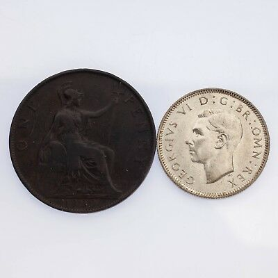 Lot of Two Great Britain Coins 1900 One Penny VF+, 1939 Silver Shilling Unc