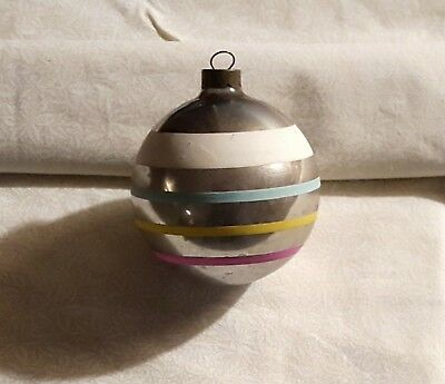 Vintage Silver Color Striped Glass Christmas Ornament Made in USA