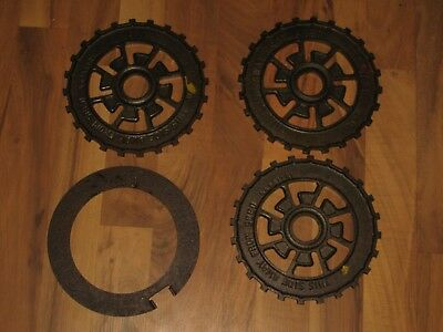 4 Vintage Cast Iron Steampunk Corn Planter Plates Gear Industrial Metal