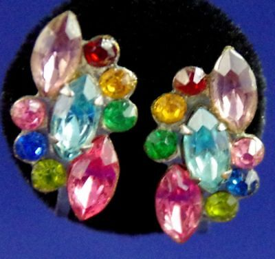 VTG c1930's ART DECO ERA POT METAL & FRUIT SALAD RHINESTONE SCREW BACK EARRINGS
