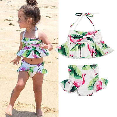 AU Stock Kids Baby Girls Flamingo Tankini Swimwear Swimsuit Bikini Bathing Suit