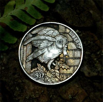 Original Hobo Nickel  Barn Owl by Howard Thomas OOAK