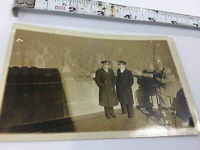 Vintage 1940s Tourist Photo Atop Empire State Building Nyc Classic
