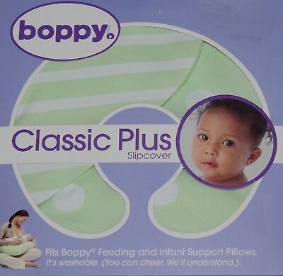 new Boppy Pillow Replacement Slipcover ONLY,  Classic Plus- Polka/Stripe Green