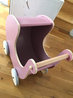 Classic Wooden Toy Pink Doll Pram Stroller Baby Walker Pretend Play Accessories