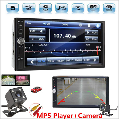 HD 7inch 2DIN Car MP5 Player Bluetooth Touch Screen Stereo Radio +Rear Camera