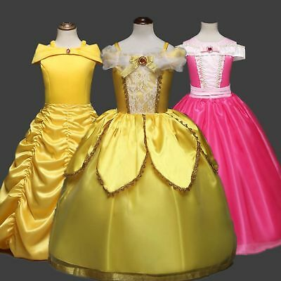 New Beauty and the Beast Belle Princess Dress Kids Girls Cosplay Party Costume
