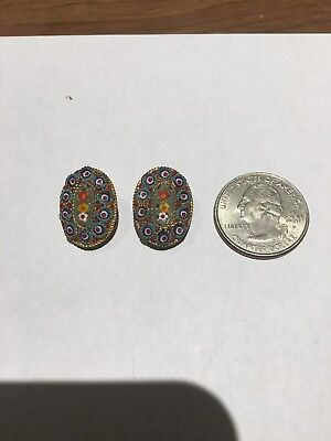 Old Vintage Italian Micro Mosaic Gold Tone metal Oval Clip on Earrings , great