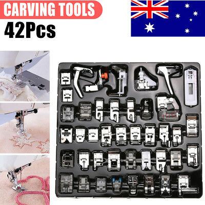 42Pcs Sewing Machine Foot Zipper Presser Stitch Feet for Singer Brother Domestic