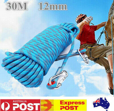 30M 12mm Static Rescue Rope Rock Climbing Rappelling Tree Arborist Cord Sling AU