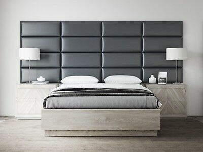 Grey Upholstered Headboards Accent Wall Panels Packs Of 4 Deluxe Leather Home