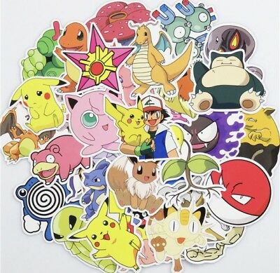 Lot of 10 Random Pokemon Character Stickers Decals - loot bag diary school party