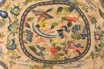 Antique CHINE SILK Soie Brodée fil or Broderie oiseaux 19 th CHINA Embroidery