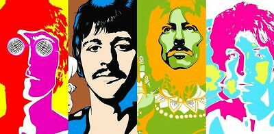 The Beatles Psychedelic Portrait '60's Abbey Road Sgt Pepper Sticker or Magnet