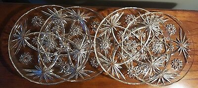 "4 Early American Prescut Glass 10"" Star of David Snack Plates, Anchor Hocking"