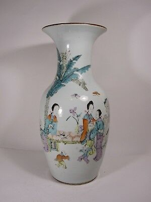 PERFECT 44 cm LARGE Chinese porcelain vase with WOMEN CHILD  famille rose 1800