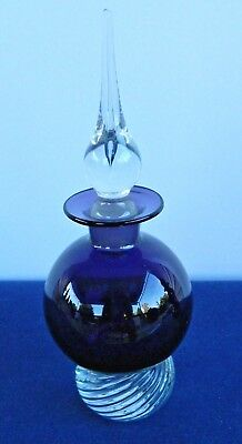 Vintage Hand Blown Deep Purple Perfume Bottle With Crystal Bottom And Stopper