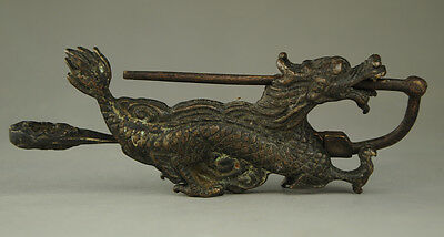 Old Rare chinese old style bronze Dragon lock and key collection