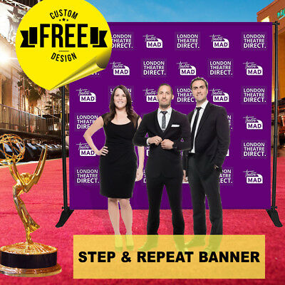 Custom Step and Repeat Banner 8 x 6 FT 3 GUEST Photo-Booth Telescopic UV PRINT