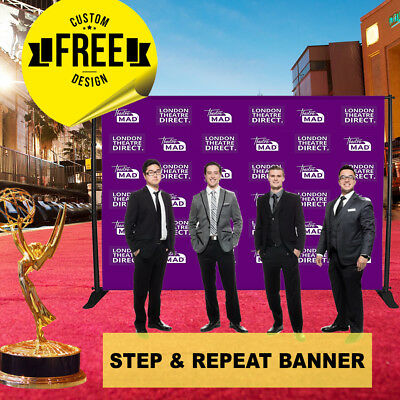 Custom Step and Repeat Banner 8' x 8' ft 3 GUEST Photo-booth Telescopic UV PRINT