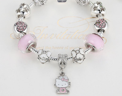 Minnie Mouse Red Heart silver Charms Children's Child Bracelet jewelry for girl