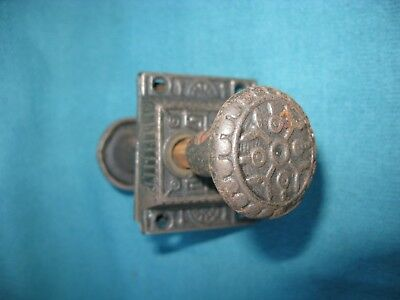 Vintage Ornate Small Cast Iron Door Latch Handle Push Lock Victorian Eastlake.