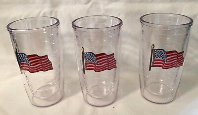 Lot of 3 New Tervis 10 oz Tumblers~Embroidered American Flag~Bar Size