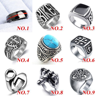 Mens Womens Stainless Steel Celtic Wedding Band Signet Biker Motorcycle Rings