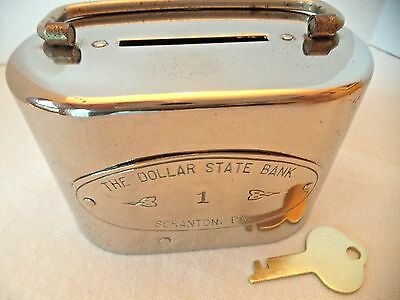 VINTAGE TRAVEL COIN BANK  # 1  THE DOLLAR STATE BANK of SCRANTON, PA. W/ KEY