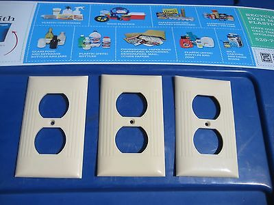 Vintage * SIERRA ELECTRIC * 1-Gang Duplex Outlet Receptacle Wall Plate Set of 3