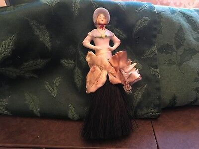 Rare Old Vintage Antique Art Deco Bisque Porcelain Half Doll Table Brush