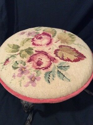 FOOT STOOL with METAL Legs Vintage  Victorian Style Needlepoint Upholstery Top