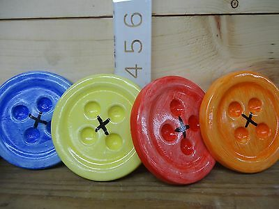 Set of 4 Buttons Hydrastone Plaster Chalkware Wall Hangings Sewing Decorations