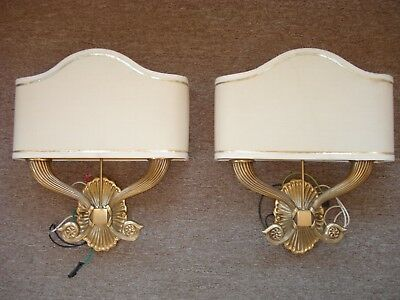 Lot Of 2 Vintage Solid Brass Sconces With Shades