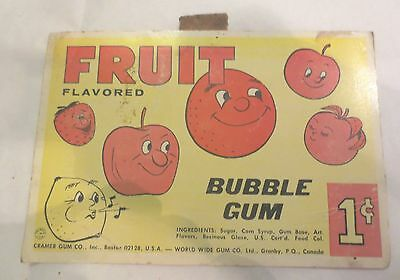 Gumball Machine - Display Card Fruit Flavored Bubble Gum - vintage 1 cent