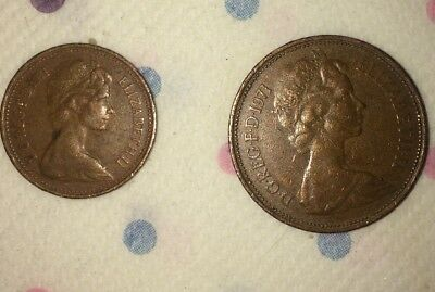 Rare collectible UK Coins.  1p and 2p (c 1971) Condition as pictured.