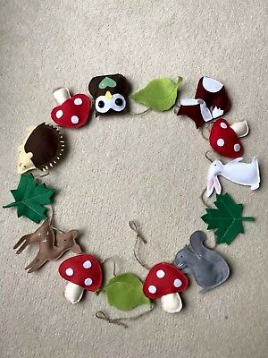 Handmade Woodland Animals Garland 2m Banner Bunting Felt Decoration Toadstools