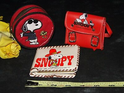 Vintage Lot Of 3 Snoopy Wallet / Coin Purse / Miniature Backpack Peanuts
