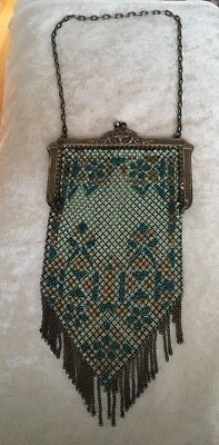 ANTIQUE VINTAGE ENAMEL MESH PURSE  MANDALIAN  MFG. CO. Great Cond/Lovely colors